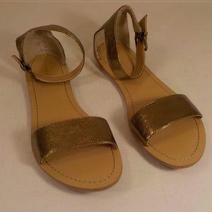 Nine West Solitude Sandals Gold 12M Leather Flats